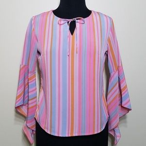 Vintage Hny Bell Sleeve Tie Front Stripe Blouse Sm